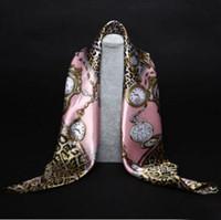 echarpe georgette longue achat en gros de-Collier foulard en soie foulards foulards femmes imprimé foulard en soie marque designer écharpes foulards en soie foulards imprimés multi