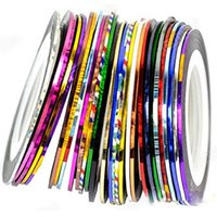 Wholesale Nail Art Using Tape - 30 Mix Color Rolls Striping Tape Line for Nail Art Decoration Sticker DIY Tips Suitable for Professional Use or Home Use