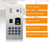 Wholesale Unlock Phone Code - free shipping waterproof wifi IP video door phone with fingerprint  code ID card unlocking