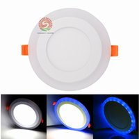 Wholesale Dual Color Led Lamp - 100-265V Ultra Slim 6W 9W 18W 24W Round Concealed Dual Color LED Panel Light Lamp Downlight Recessed Lights Indoor Lighting Bulb