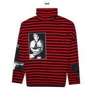 Wholesale Striped Cotton - SIZE S XXL RAF SIMONS Big Bang G-Dragon Hip Hop Striped Hoodies Street Brand Man Fashion New GUN Style Hoodie Turtleneck Winter Swearshirts