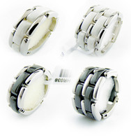 Wholesale Ceramic Rings For Women - Fashion Jewelry Women love Ring Double row and single row black white Ceramic Rings For Women Men Plus Big Size 10 11 12 Wedding Ring Gift