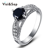 Wholesale Women Black Stone Ring - Visisap White gold Color ring black stone 2ct cubic zircon Rings For women Wedding anel engagement bague fashion jewelry VSR243