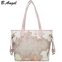 Wholesale Special Tote Brands - High quality world map women bag fashion big tote bag special handbag brand designer shoulder bag HC-W-1066