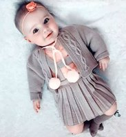 Wholesale Baby Suspenders Outfit - New Christmas Babies Knit Sets 2016 Toddler Knitted Sweater With Wool blends Suspender Dress Children's Autumn Preppy Style Outfits