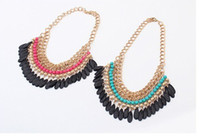 Wholesale beaded necklaces online - Water Drop Tassel Necklace Bohemian Beaded Style Statement Necklace Jewelry Black Tassel Four Designs for Choose DHL