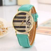 Wholesale Wholesale Striped Leather Watches - Free shipping wholesale Foreign trade sales speed sell hot style Geneva watch male ladies fashion Striped Gold shell notes quartz watch