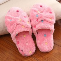 Wholesale Girls Fleece Slippers - Wholesale- Bow Autumn And Winter Warm Skid Women Cotton-padded Home Slippers Womens Girls Indoor Soft Fleece Shoes Antiskid Slipper Shoe