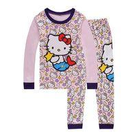Wholesale Kid Underwear Cartoon Characters - Children's Pajamas Long Sleeve Clothing Set For Kids Boys Fashion Cartoon Hello Kitty Home Wear Pijamas PJS underwear suit