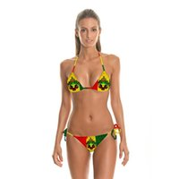 Wholesale Zx14 Black - ZX14-Female 2016 summer western style painting swimming suit sexy backless gallus Slim sandbeach bikini bathing suit Fission two-piece