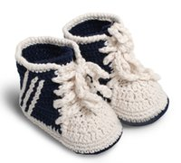 ingrosso pattini di bambino del filato del filato-Crochet Baby Boys Girls Scarpe sportive Prewalker Sneakers Neonato Scarpe da tennis a maglia Bambino primi camminatori Booties 0-12M 100% cotone Filato