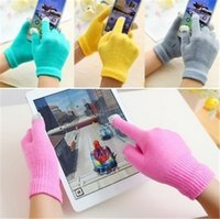 Wholesale Warm Love Glove - Colorfull Warm Winter Touch Screen Gloves Multi Purpose Unisex Capacitive Half fingerc loves Christmas Gift For iPhone iPad Smart Phone