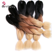 Wholesale Thick Ombre Hair Extensions - VERVES Ombre Braiding Hair three tone 24inch High Temperature Fiber ombre braiding hair Extension yaki style thick synthetic hair bundles