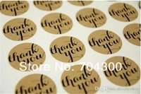 Wholesale Christmas Envelope Stickers - 'Thank You' Typeface Brown Kraft Stickers For Envelopes Card