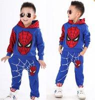 Wholesale Kids Spiderman Sweaters - Kids Spring and Autumn children's clothing boys Spiderman Cartoon Children sweater piece suit