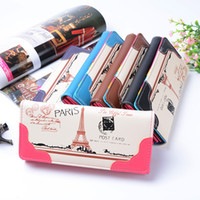 Wholesale Paris Clutch - 50pcs New Arrival European Style Fashion Women Purse Colorful Paris Eiffel Tower Print PU Leather Wallet Card Holder Clutch Bags