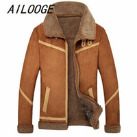 Wholesale Air Force Leather Bomber Jacket - Wholesale- AILOOGE Arrival Fly Air Force Flight Jacket Fur Collar Plus Velvet Leather Jacket Men Winter Cashmere Coat Pilot Bomber Jacket