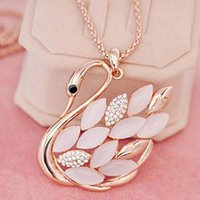 Wholesale Halloween Accesories - 2017 Hot Direct Selling crystal Necklaces Swan Fashion Accesories Long Necklace Pendant Fine Jewelry Women free shipping