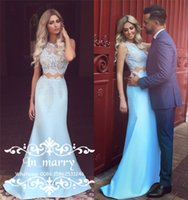 Wholesale Satin Ruffle Baby Dress - Two Pieces Sexy Vintage Lace Evening Dresses 2017 Mermaid Jewel Plus Size Long Chic Baby Blue Satin Arabic African Formal Prom Party Gowns