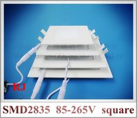 Wholesale Installing Led Recessed Lighting - ultra thin LED flat light square recessed ceiling LED panel lamp light 18W 15W 12W 9W 6W SMD2835 AC85-265V embeded install