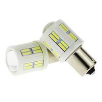ingrosso ba15s 24v-1156 ba15s ad alta potenza 28 smd luci LED bianche in ceramica con lente 12V 24V auto coda girevole lampadina posteriore