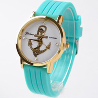 Wholesale Table Waves - Free shipping Speed sell through selling Wave stripe fashionable anchor watch Geneva silicone female leisure student table