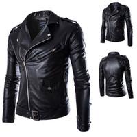 Wholesale Motorcyle Jackets - Men Jacket PP black leather bomber jacket Motorcyle short biker coat casaco de couro masculine jaqueta de couro dos homens