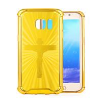 fundas amarillas para samsung al por mayor-Funda Galaxy S7 / S7 Edge, carcasa de TPU Exact-fit para Samsung Galaxy S7 / S7 Edge (oro amarillo, cruz Crucifix INRI)