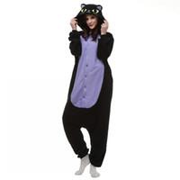 traje cosplay de anime preto venda por atacado-Japão Anime Cosplay Pijama Animal Da Noite Do Gato Gatinho Noite Gato Preto Gatinho Kigu Cosplay Unisex Adulto Onesie Sleepwear Cat Jumpsuit