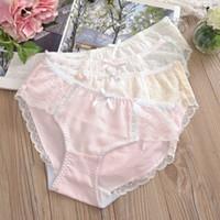 estilo japonês underwear venda por atacado-# 2131 Atacado 3 pçs / lote estilo japonês das mulheres da menina sexy ladies underwear rendas de algodão bowknot Briefs cueca calcinha