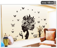 Wholesale Wall Sticker Decal Flower Removeable - 50*70cm Wall Stickers DIY Art Decal Removeable Wallpaper Mural Sticker for Living Room Bedroom AY7184 Butterfly Flowers Girls
