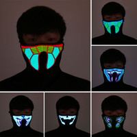 Wholesale Fire Half - Halloween LED Masks Clothing Big Terror Masks Cold Light Helmet Fire Festival Party Glowing Dance Steady On Driver