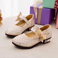 Wholesale Ballerina Shoes Girl - Hot sale kids leather shoes Glitter Rhinestone Girls Ballerina Shoes Baby Girls princess Wedding Shoes Glitter Children shoe Girls Flat