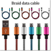 Wholesale Usb Data Cable Dhl - 1M 3ft braid usb 2.0 data cable Samsung USB Cable Braided Fabic Nylon Woven USB Data Sync Charging Cable Cord Wire with dhl free shiping