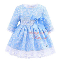 Wholesale Full Hairbands - Pettigirl Autumn And Fall Girls Light Blue Dresses With Bow Hairbands Kids Jacquard Boutique Baby Lace Hem Fall Casual Wear G-DMGD908-902