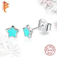 Wholesale Christmas Star Stud - BELAWANG 2 Colors 925 Sterling Silver Stud Earrings Blue&Pink Enamel Star Earrings for Women Vintage Jewelry Christmas Day Birthday Gift