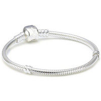 pulseras de serpiente europea al por mayor-925 Sterling Silver plateó 3MM Snake Chain European Beads se adapta a pandora Bracelet Bangle necklace Chain con Logo 16CM-45CM