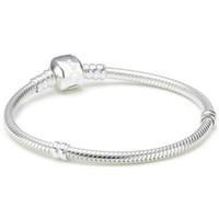 ingrosso collane da 3mm-Perle europee placcate in argento 925 placcato con serpente 3MM per pandora Bracciale catena con catenina con logo 16CM-45CM