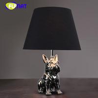 siyah yatak odası masaları toptan satış-FUMAT Modern Seramik Köpek Masa Lambası Siyah Kumaş Gölge Yatak Odası Başucu Işık Nordic Basit Yavru Köpek Masa Lambaları Çalışma Için