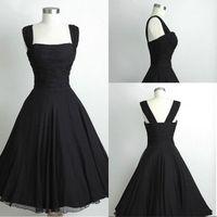 Wholesale Short Black Chiffon Party Dress - Black Short Chiffon Calf Length Prom Dress Party Gowns Vintage 1950s Prom Dress Little Red Royal Blue Lavender Bridesmaid Dress Cheap