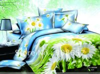 Wholesale Green White Flowered Quilt - egyption cotton bedding white daisy flower prints blue green quilt duvet covers sets for full queen comforter doona home textile