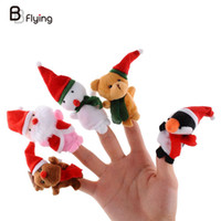 Wholesale snowman hand puppet resale online - 5pcs Christmas Hand Finger Puppets Cloth Doll Santa Claus Snowman Animal Toy Baby Educational Finger Puppets
