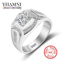 Wholesale pave diamond charms - YHAMNI Brand Wedding Rings for Men 925 Sterling Silver Ring CZ Diamond Engagement Charm Man Jewelry Ring MJZ019