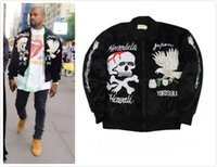 Wholesale Embroidery Velvet Coat - Designer Kanye West Japan Style Velvet Bomber Jacket 2016 Skull Eagle Embroidery Pilot Coats Free Shipping