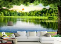 peinture photo verte achat en gros de-3d papier peint photo personnalisé non-tissé mural sticker mural Le lac vert peinture photo 3d murales murales papier peint