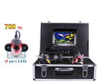 batterie-monitor-kameras großhandel-Tiefes Wasser-Unterwasserfischen-Kamera 7 Zoll LCD-Monitor-Video-Farben-Fisch-Sucher ohne Batterie 12V