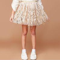 Wholesale Teenagers Skirts - Junior Lace Sequins Skirts Teenager Princess tutu Dress Big Babies Autumn Ruffles Skirts 2017 childrens clothing
