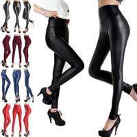 Wholesale Shiny Pants Women Tight - Leggings High Waist Faux Leather Leggings Skinny Pencil Pants Women Elastic Slim Legging Sexy Stretch Tights Shiny Foot Pants 100pcs OOA3203