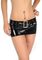 Wholesale Tight Sexy Latex - New Sexy Micro MINI Skirt Latex Faux Leather Sequin Skirt Tight Hip Slim Low Waist With Belt Pencil Package Hip Skirt