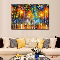 Wholesale Huge Wall Art Tree - Huge Modern Abstract Art Lover Rain Street Tree Lamp Landscape Oil Painting On Canvas Wall Art Wall Pictures For Living Room Home Decor
